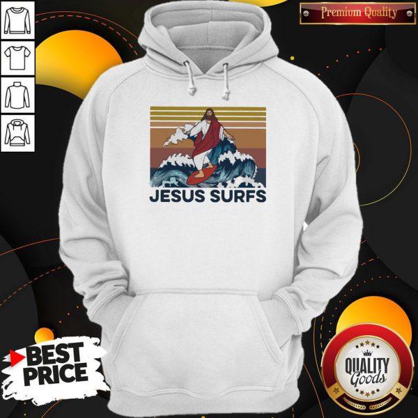 Funny Jesus Surfs Vintage Hoodie