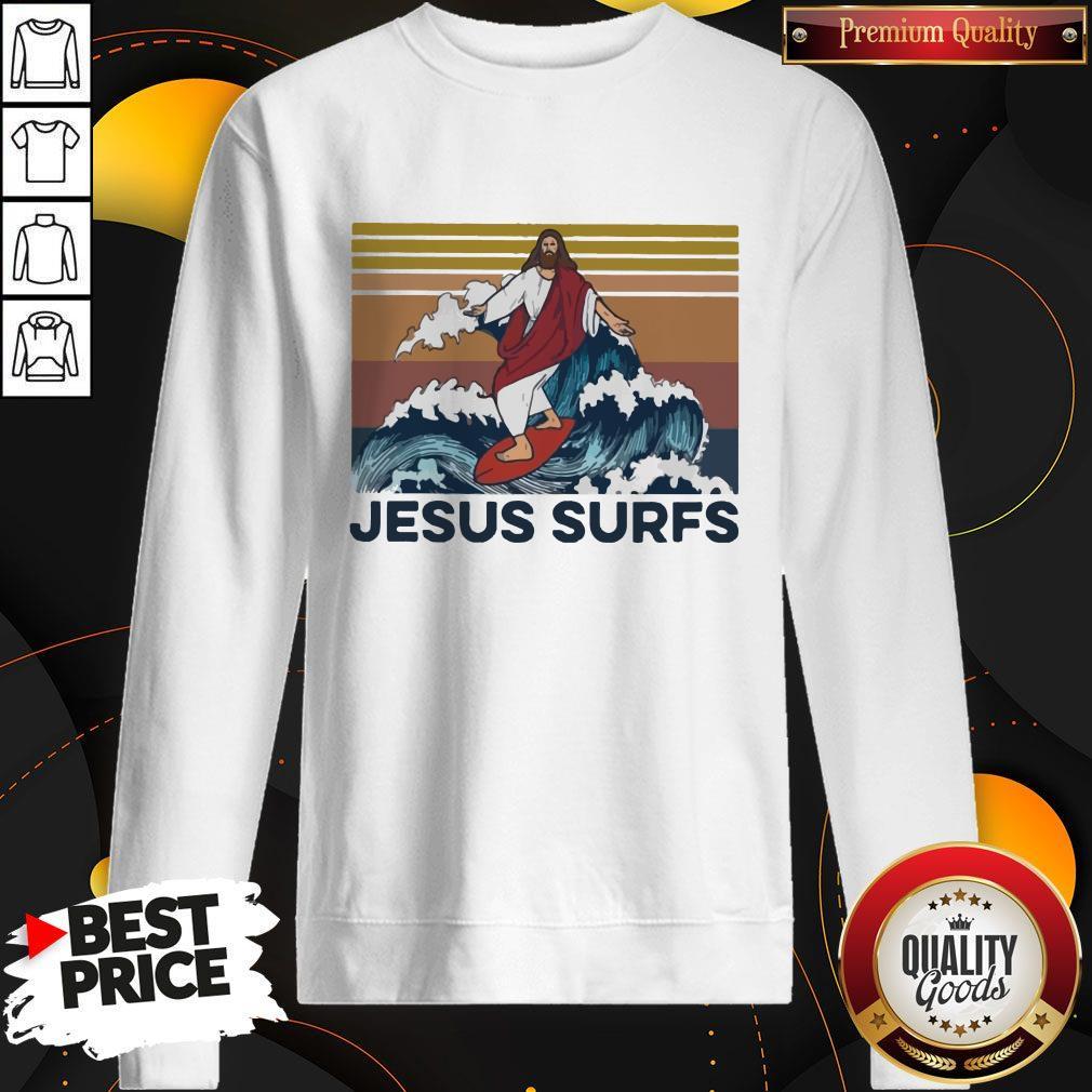 Funny Jesus Surfs Vintage Sweatshirt
