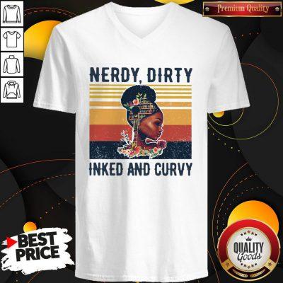 Nice Black Girl Nerdy Dirty Inked And Curvy Vintage V-neck
