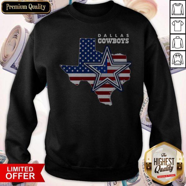 Nice Dallas Cowboys American Map Flag Sweatshirt