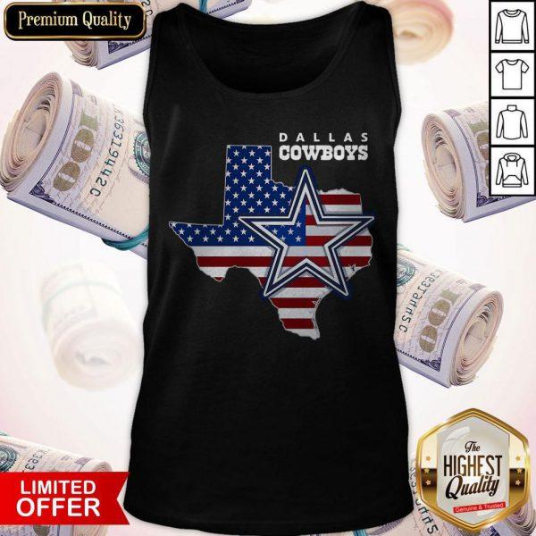 Nice Dallas Cowboys American Map Flag Tank Top