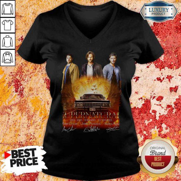 Supernatural 2005 2020 15 Seasons 327 Episodes Signatures V-neck