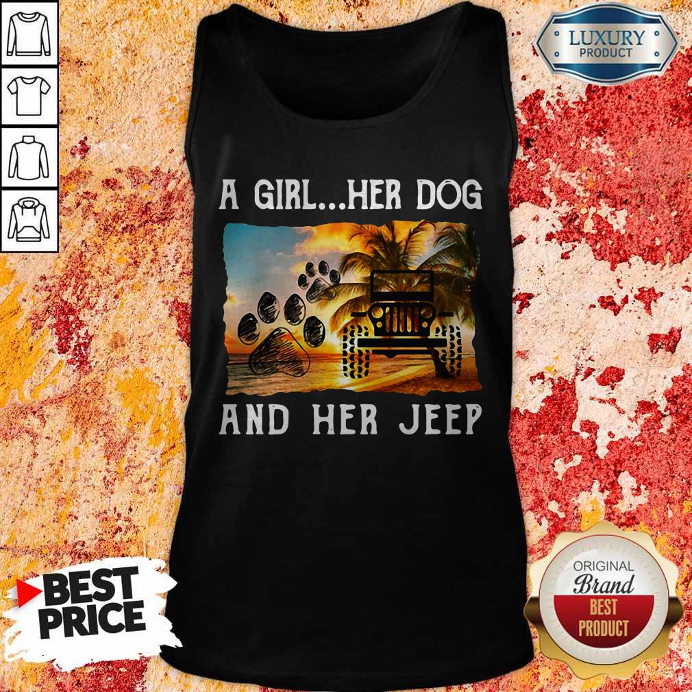 Awesome A Girl Her Dog And Her Jeep Tank Top