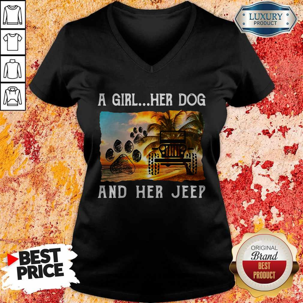 Awesome A Girl Her Dog And Her Jeep V-neck
