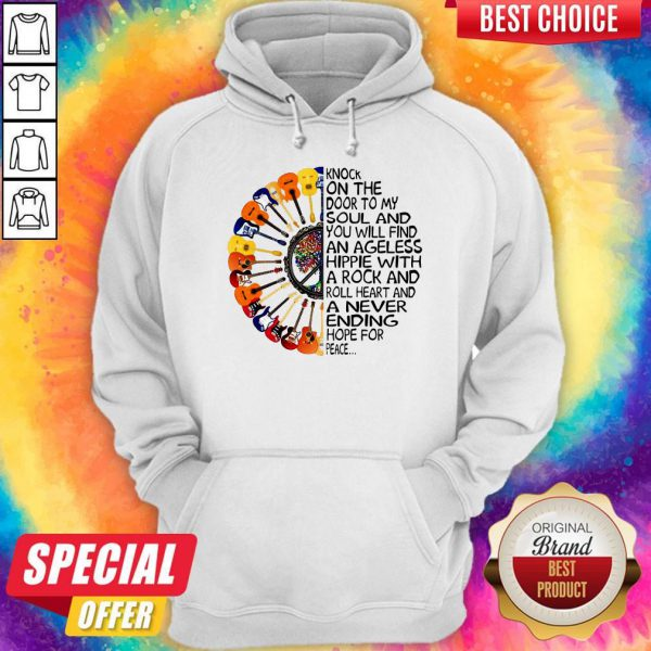 Cute Guitars Hippie Sunflower Knock On The Door To My Soul Hoodie