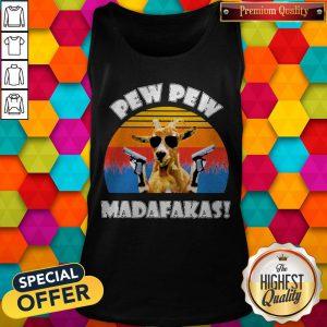 Funny Mountain Goat Pew Pew Madafakas Vintage Tank Top