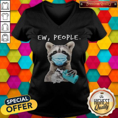 Funny Racoon Face Mask Ew People V-neck