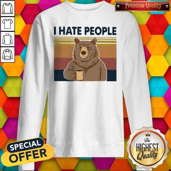 Good Beer Drink Coffee I Hate People Vintage Sweatshirt