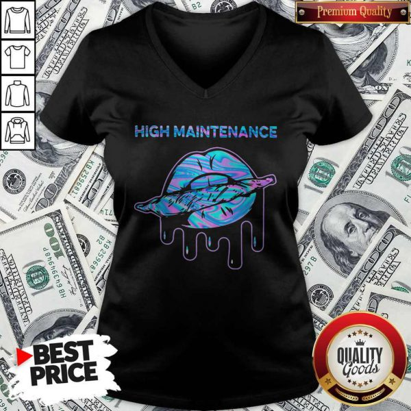 Good Lips Weed High Maintenance V-neck