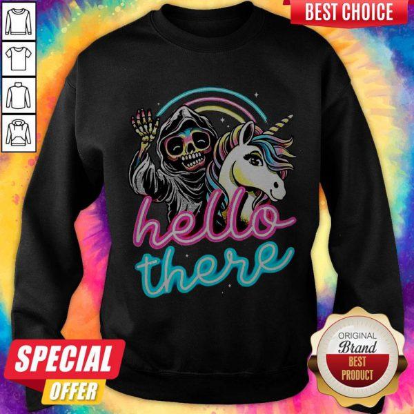 Hello There Unicorn Halloween Skeleton Tee Sweatshirt