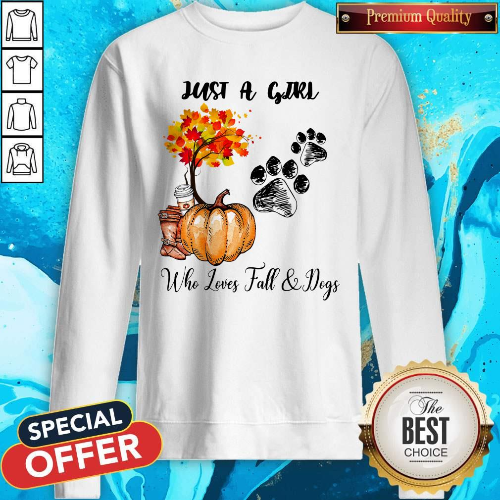 Just A Girl Who Love Fall And Dogs Autumn Pumpkin Sweatshirt