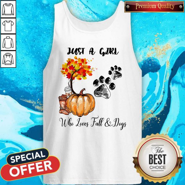 Just A Girl Who Love Fall And Dogs Autumn Pumpkin Tank Top