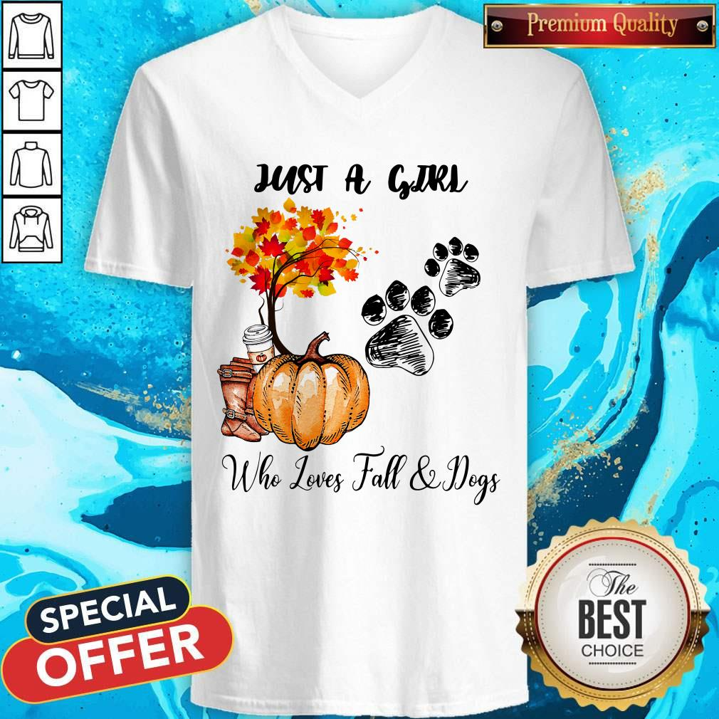 Just A Girl Who Love Fall And Dogs Autumn Pumpkin V-neck