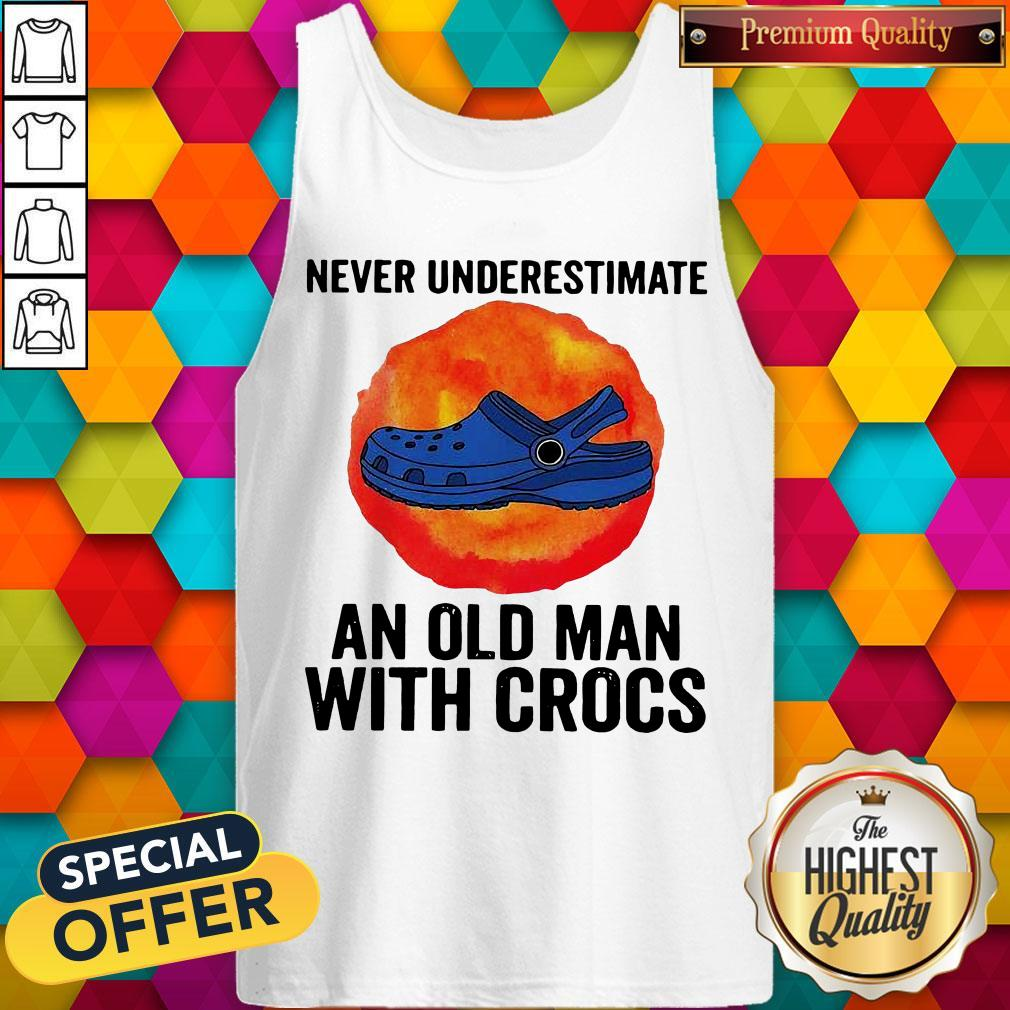 Never Underestimate An Old Man With Crocs Blood Moon Tank Top
