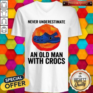 Never Underestimate An Old Man With Crocs Blood Moon V-neck