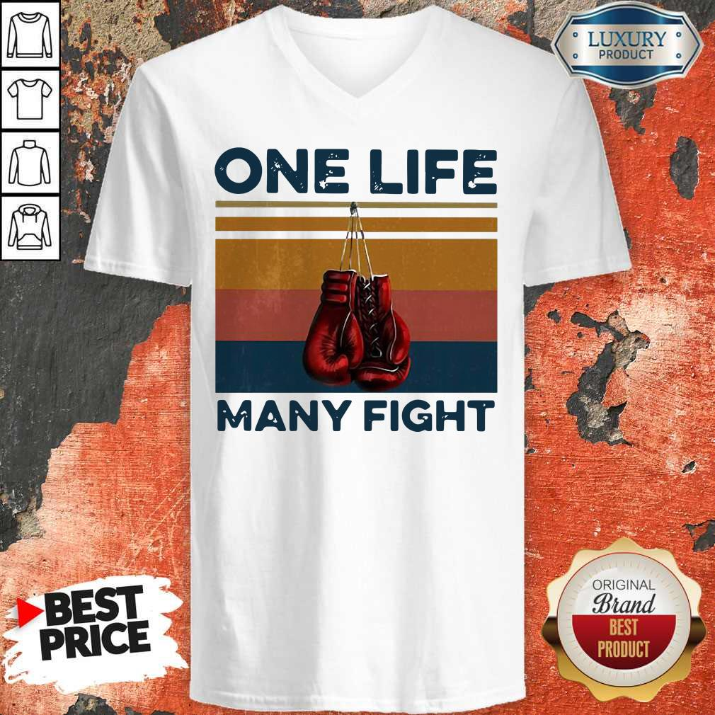 Nice Boxing One Life Many Fight Vintage V-neck