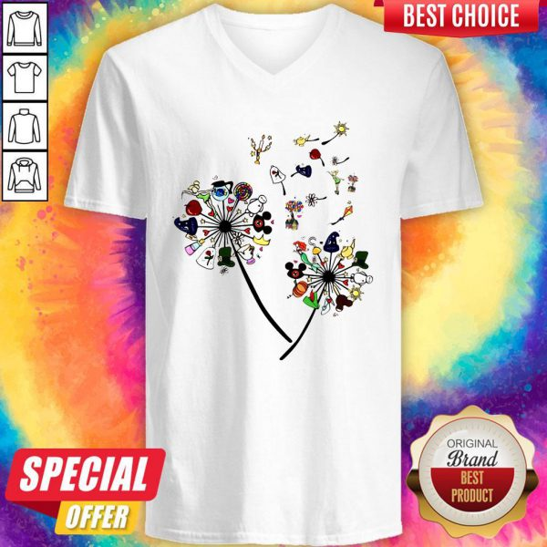 Pretty Cartoon Dandelion Flower V-neck