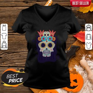Sugar Skull Woman Day Of The Dead Muertos V-neck
