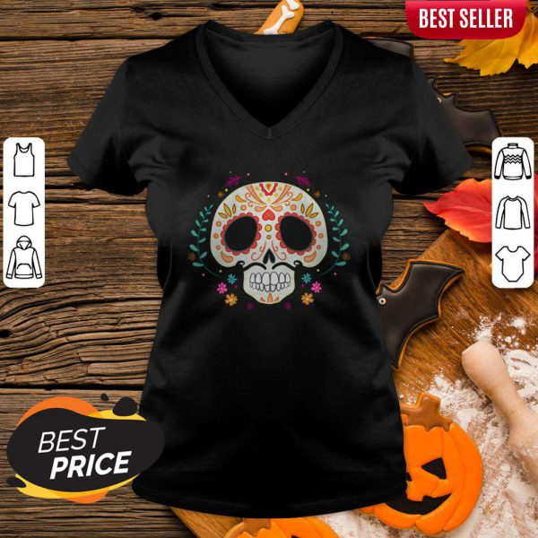 Day Of The Dead Dia De Los Muertos Sugar Skull V-neck