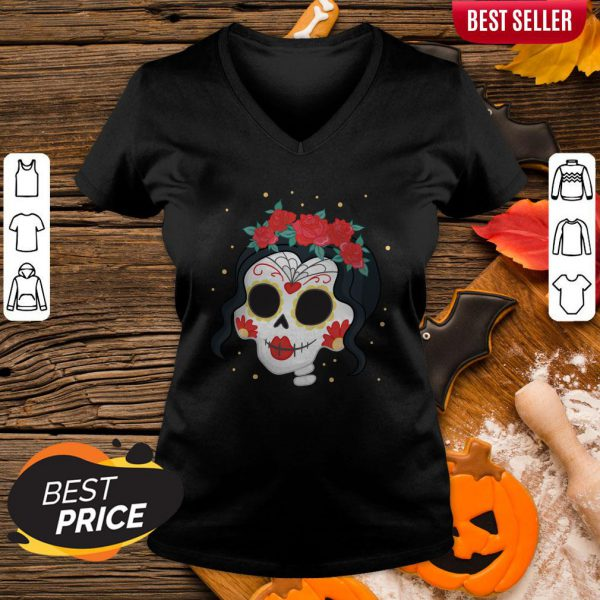 Sugar Skull Girl Rose Dia De Muertos Day Of Dead V-neck