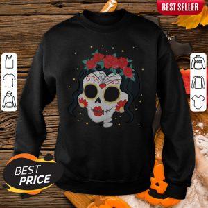 Sugar Skull Girl Rose Dia De Muertos Day Of Dead Sweatshirt