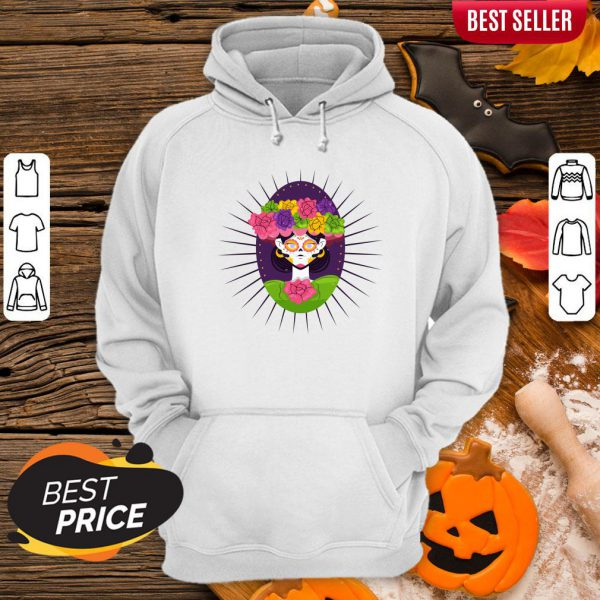 Sugar Skull Girl With Flower Day Of The Dead Hoodie