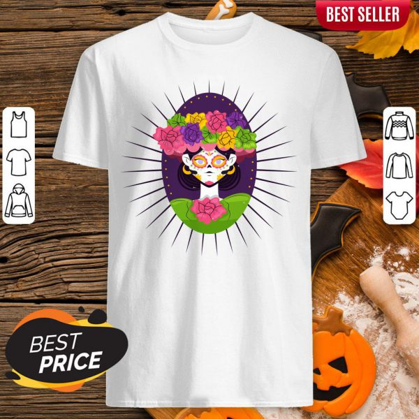 Sugar Skull Girl With Flower Day Of The Dead Shirt