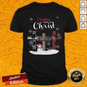 Nice Snowman Cross Christmas Begins With Christ Shirt