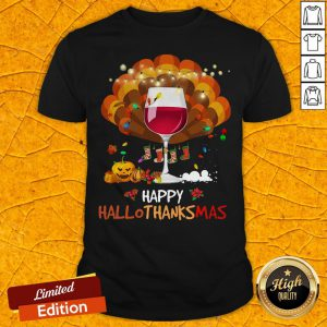 Pretty Wine Happy Hallothanksmas Halloween Shirt