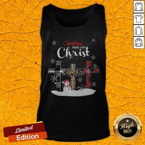 Nice Snowman Cross Christmas Begins With Christ Tank Top