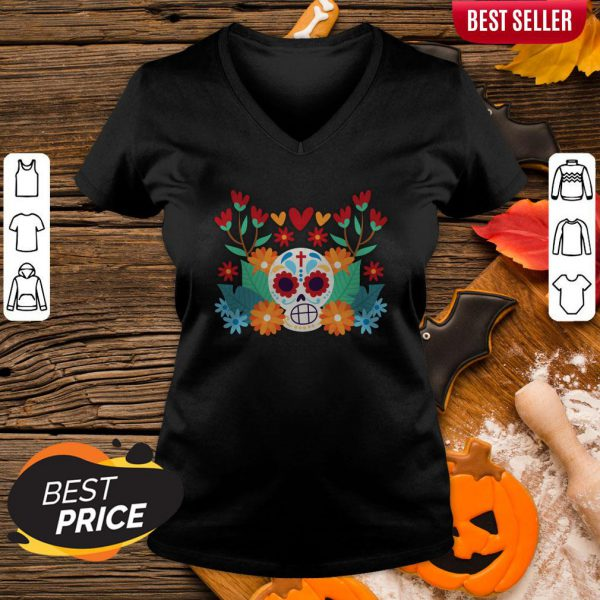 Sugar Skull Day Dead Dia De Muertos In Mexican V-neck