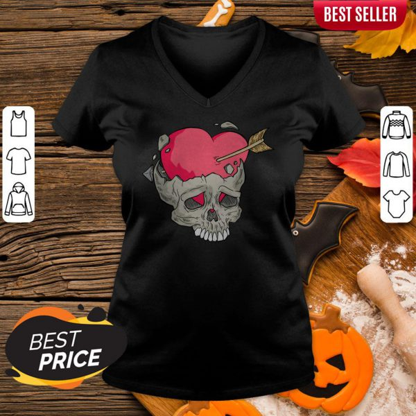Skull Heart Day Of Dead Dia De Muertos V-neck