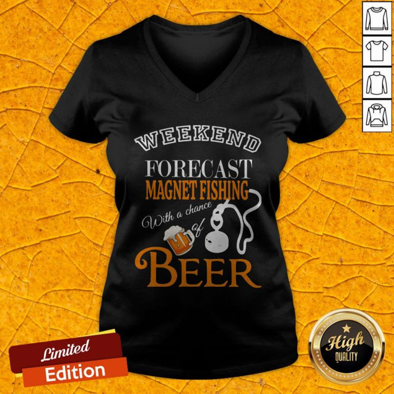 Weekend Forecast Magnet Fishing With A Chance Of Beer V-neck