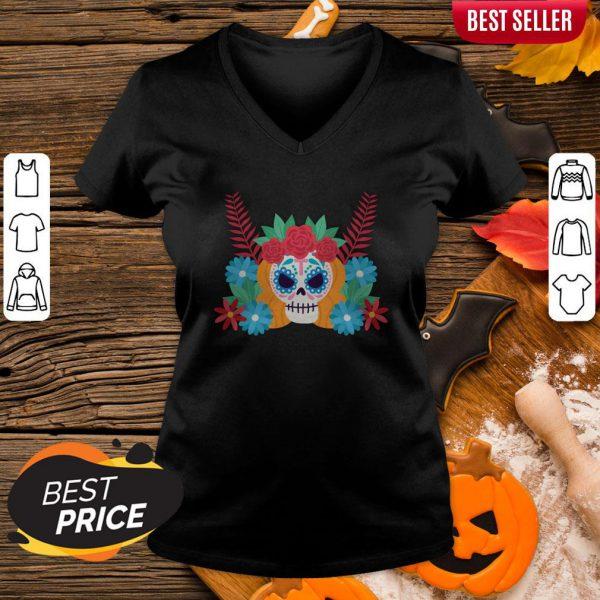 Nice Sugar Skull Dia De Los Muertos Day Dead V-neck