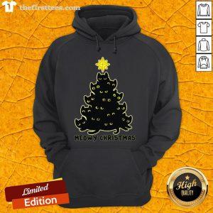 Happy Meowy Christmas Black Cat Hoodie- Design By Thefirsttees.com