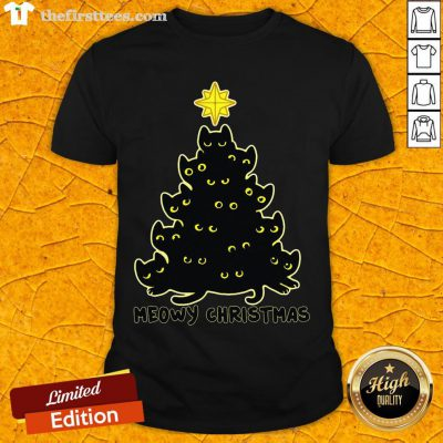 Happy Meowy Christmas Black Cat Shirt- Design By Thefirsttees.com