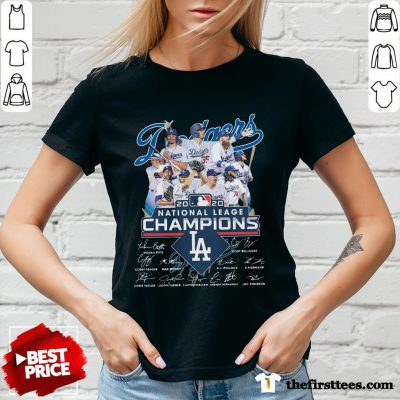 Los Angeles Dodgers 2020 National League Champions Signatures V-neck-Design By Wardtee.com