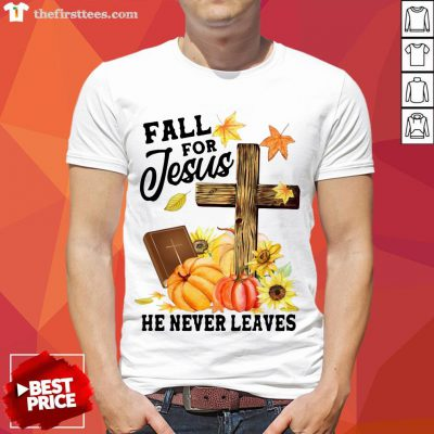 Nice Fall For Jesus He Never Leaves Halloween Shirt- Design By Thefirsttees.com