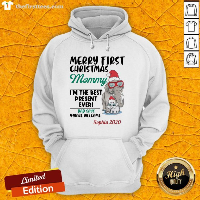 Perfect Elephant Merry First Christmas Mommy Hoodie-Design By Wardtee.com
