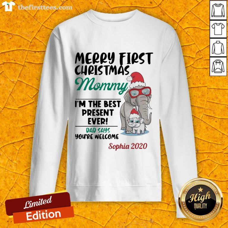 Perfect Elephant Merry First Christmas Mommy Sweatshirt-Design By Wardtee.com
