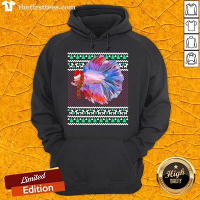 Pretty Xmas Santa Hat Betta Fish Ugly Christmas Hoodie- Design By Thefirsttees.com