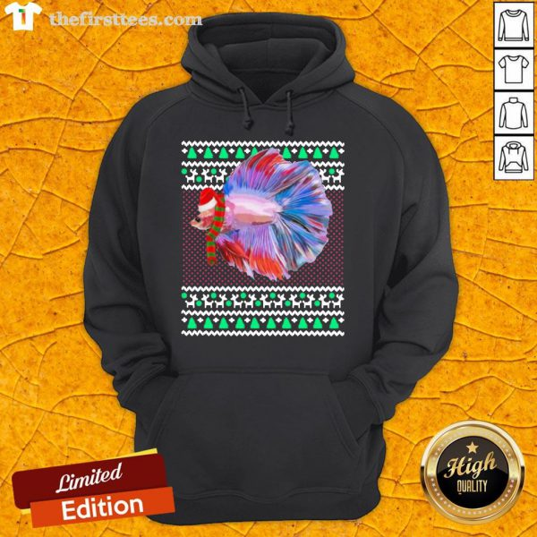 Pretty Xmas Santa Hat Betta Fish Ugly Christmas Hoodie- Design By Thefirsttees.com