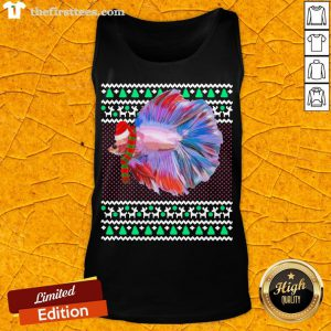 Pretty Xmas Santa Hat Betta Fish Ugly Christmas Tank Top- Design By Thefirsttees.com