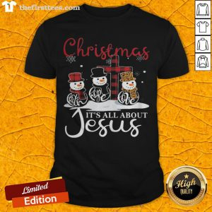 Pretty Snowman Christmas It's All About Jesus Shirt - Design By Thefirsttees.com
