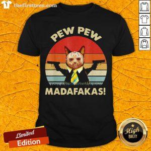 Cat Jason Voorhees Pew Pew Madafakas Vintage Retro Shirt - Design By Thefirsttees.com