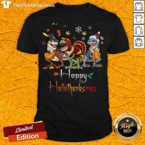 Dino T-rex Happy HalloThanksMas Halloween Christmas Shirt