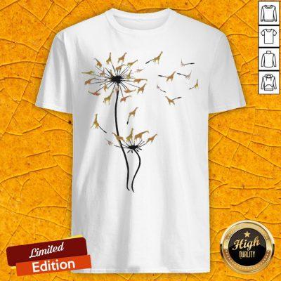 Pretty Giraffes Dandelion Flower Shirt