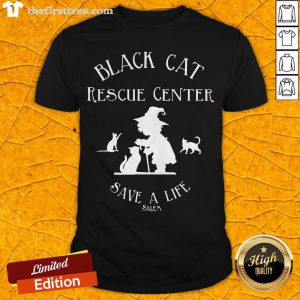 Black Cat Rescue Center Save A Life Salem Witch Halloween Shirt - Design By Thefirsttees.com