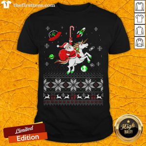 Colorful Santa Unicorn Ugly Christmas Shirt - Design By Thefirsttees.com