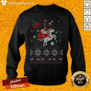 Colorful Santa Unicorn Ugly Christmas Sweatshirt - Design By Thefirsttees.com